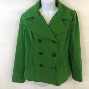 Old Navy S M green pea coat  button up down